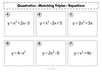 Quadratic Graphs - Matching activity - Algebra