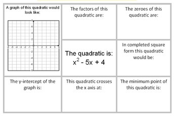 Quadratic Graphs Review