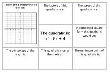Quadratic Graphs Review
