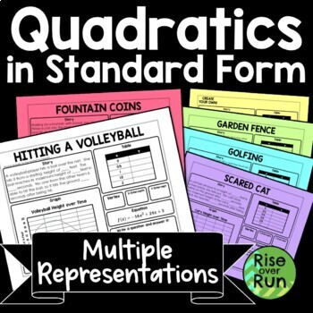Quadratic Equations Real World Task Worksheets