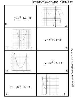 Quadratic Graphs and Standard Form Matching Card Set