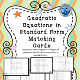 Quadratic Graphs and Standard Form Matching Card Set