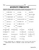 Quadratic Inequalities - Matching