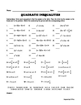Quadratic Inequalities - Matching