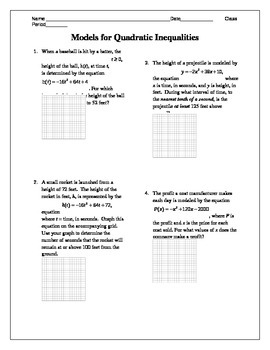 Quadratic Inequality Word Problems