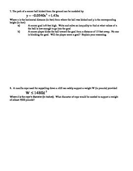Quadratic Inequality Word Problems Practice