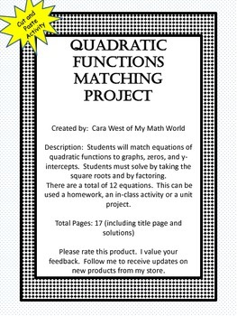 Quadratic Functions Matching Project