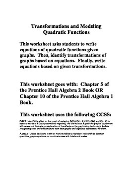 Quadratic Modeling and Transformations - Chapter 10 - Prentice Hall Algebra 1