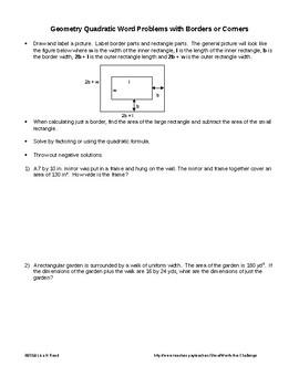 Quadratic Problems involving Borders and Corners