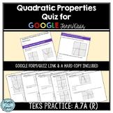 Quadratic Properties Quiz for Google Form/Quiz