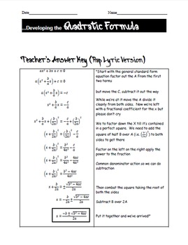 Quadratic Rap & Worksheets (deriving the formula...with swag)