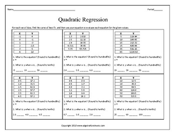 Quadratic Regression Activity & Worksheets | Teachers Pay