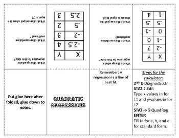 Quadratic Regression Foldable/Graphic Organizer