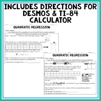 Quadratic Regression Guided Notes