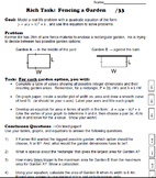 Quadratic Rich Task - Fencing a Garden