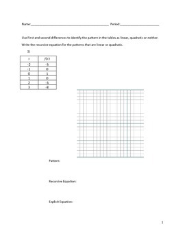 Quadratic Sequences Activity 5 of 5