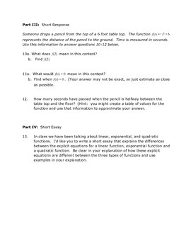 Quadratic Sequences Test or Test Review Version 1