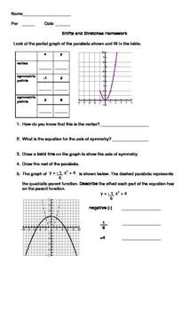 Quadratic Shifts and Stretches Homework with Graphic Organizer