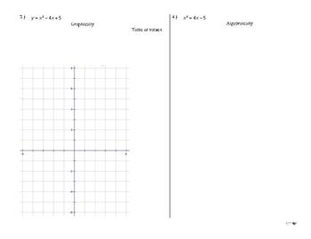 Quadratic Solutions - Graphically & Algebraically QUIZ