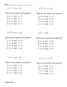 Quadratic Solutions (Quiz)