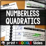Numberless quadratic word problem keyword sorting activity