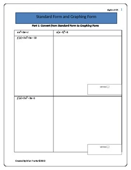 Quadratic Standard Form and Graphing Form