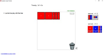 Quadratic Super Modeller - Very Handy Virtual Algebra Tile Software!