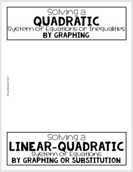 Quadratic Systems (Algebra 2 Foldable)