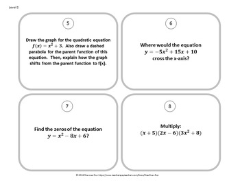 Quadratic Task Cards Activity