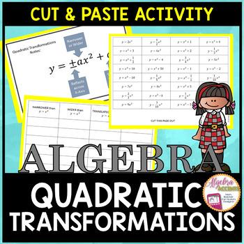 Quadratic Functions Transformations Cut & Paste Activity