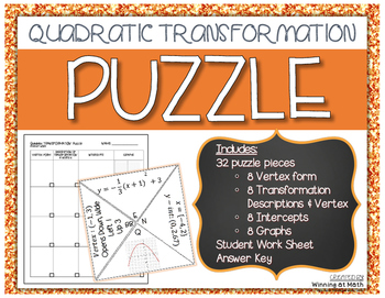 Quadratic Transformations Puzzle By Winning At Math Tpt