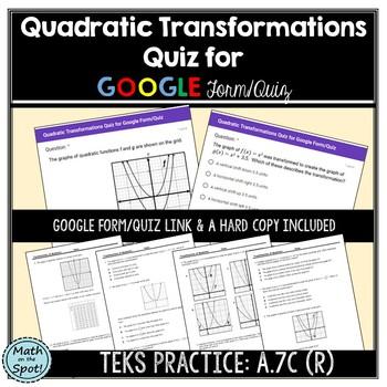 Quadratic Transformations Quiz for Google Form/Quiz