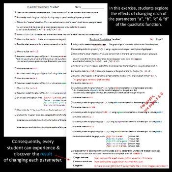 Quadratic Translations - interactive discovery exercise - Geogebra