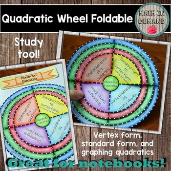 Quadratic Wheel Foldable Vertex Form Standard Form And Graphing