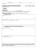 Quadratic Word Problem Notes