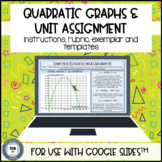 Quadratic Word Problem Project Equation Build Graph for use with Google Slides™
