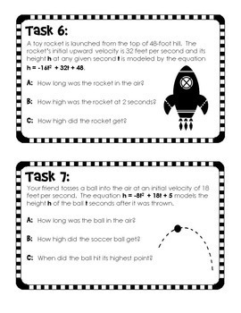 Quadratic Word Problems Task Cards for trinomials | TpT
