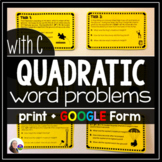Quadratic Word Problems Tasks (TRINOMIALS) w/ GOOGLE Form
