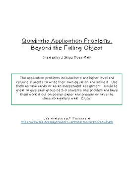 Quadratic Word Problems - Beyond the Falling Object