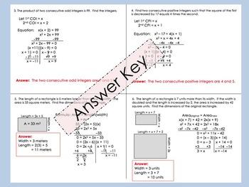 Quadratic Word Problems Foldable