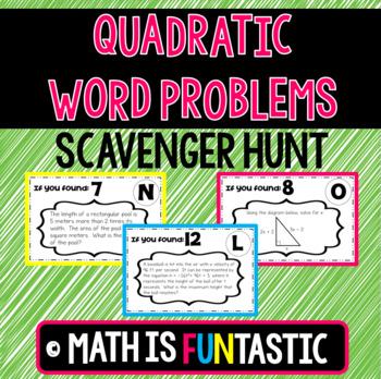 Quadratic Word Problems Scavenger Hunt