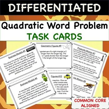 Quadratic Word Problems TASK CARDS - Differentiated Activity