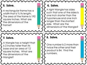 Quadratic Word Problems Task Cards