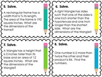 Quadratic Word Problems Task Cards