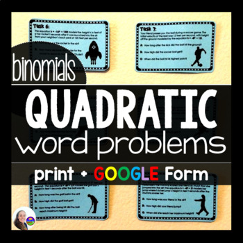 Quadratic Word Problems Task Cards {binomials}