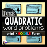 Quadratic Word Problems Task Cards for binomials