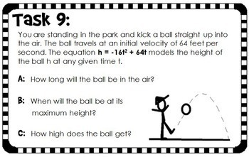 Quadratic Word Problems Task Cards - binomials