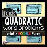 Quadratic Word Problems Tasks (BINOMIALS) w/ GOOGLE Form