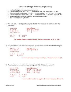 Word Problems: Quadratics involving Consecutive Numbers