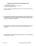 Word Problems: Quadratics involving Square Root Method